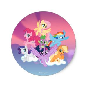 My Little Pony | Mane Six on Clouds Classic Round Sticker
