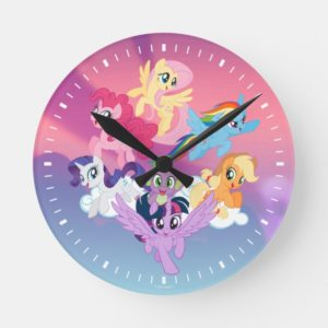 My Little Pony | Mane Six on Clouds Round Clock