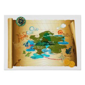 Neverland Treasure Map Poster