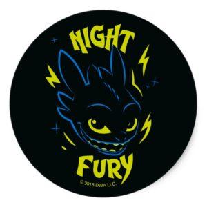 """Night Fury"" Toothless Head Graphic Classic Round Sticker"