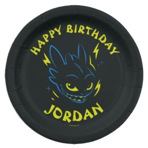 """""""Night Fury"""" Toothless Head Graphic Paper Plate"""