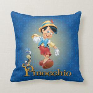 Pinocchio with Jiminy Cricket 2 Throw Pillow