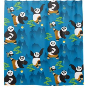 Po and Bao Blue Pattern Shower Curtain
