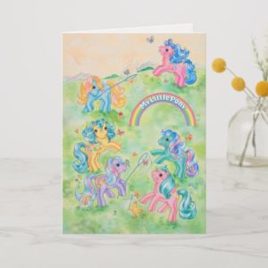 Ponies Catching Butterflies Card