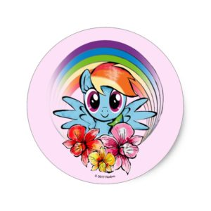 Rainbow Dash   Floral Watercolor Rainbow Classic Round Sticker