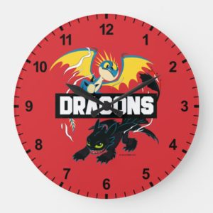 """Stormfly & Toothless """"Dragons"""" Graphic Large Clock"""