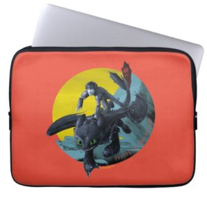 Stylized Toothless And Hiccup Flying Graphic Computer Sleeve