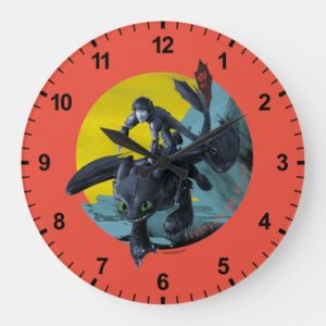 Stylized Toothless And Hiccup Flying Graphic Large Clock