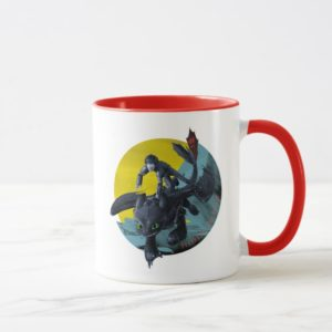 Stylized Toothless And Hiccup Flying Graphic Mug