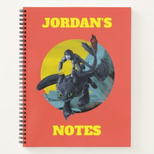 Stylized Toothless And Hiccup Flying Graphic Notebook