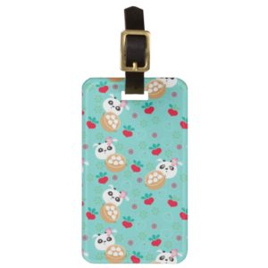 Teal Floral Panda Dumpling Pattern Bag Tag