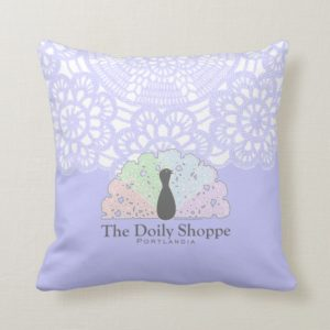 The Doily Shoppe, Portlandia Throw Pillow