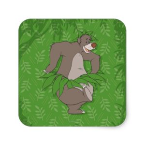 The Jungle Book Baloo with Grass Skirt Square Sticker
