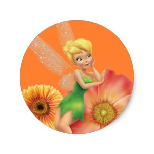 Tinker Bell Resting on Flowers Classic Round Sticker
