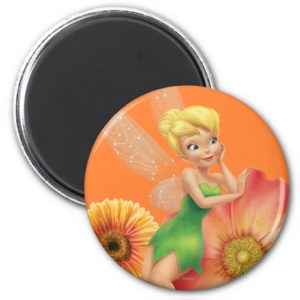 Tinker Bell Resting on Flowers Magnet