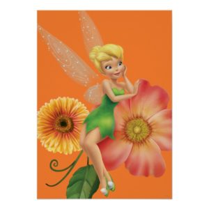 Tinker Bell Resting on Flowers Poster