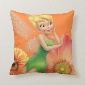 Tinker Bell Resting on Flowers Throw Pillow