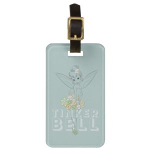 Tinker Bell Sketch With Jewel Flowers Luggage Tag