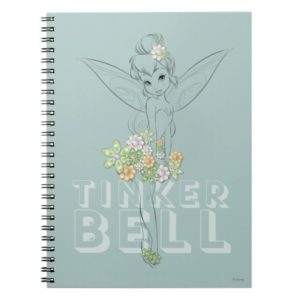 Tinker Bell Sketch With Jewel Flowers Notebook