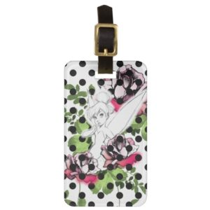 Tinker Bell Sketch With Roses and Polka Dots Bag Tag
