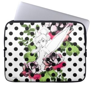 Tinker Bell Sketch With Roses and Polka Dots Laptop Sleeve