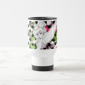 Tinker Bell Sketch With Roses and Polka Dots Travel Mug