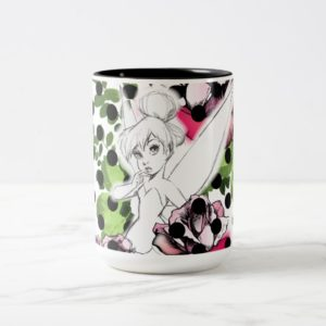 Tinker Bell Sketch With Roses and Polka Dots Two-Tone Coffee Mug