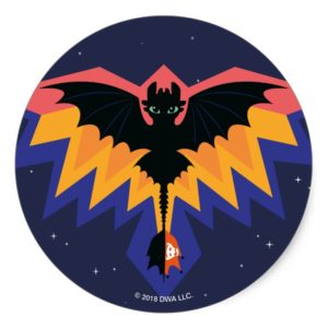 Toothless Colored Flight Graphic Classic Round Sticker