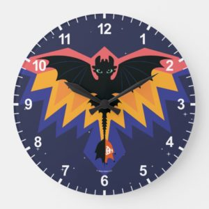 Toothless Colored Flight Graphic Large Clock
