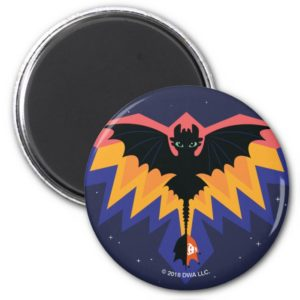 Toothless Colored Flight Graphic Magnet