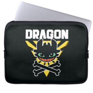 "Toothless ""DRAGON"" Cross Bones Hazard Icon Computer Sleeve"
