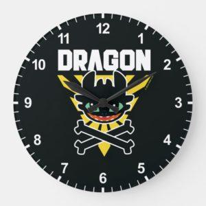"Toothless ""DRAGON"" Cross Bones Hazard Icon Large Clock"