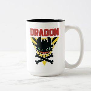 "Toothless ""DRAGON"" Cross Bones Hazard Icon Two-Tone Coffee Mug"