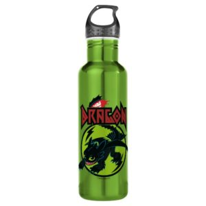 """Toothless """"Dragon"""" Runic Graphic Stainless Steel Water Bottle"""