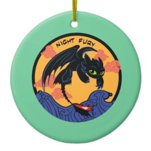 """Toothless """"Night Fury"""" Flying Over Ocean Waves Ceramic Ornament"""
