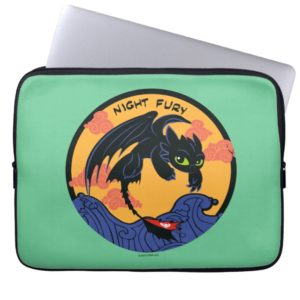 "Toothless ""Night Fury"" Flying Over Ocean Waves Computer Sleeve"