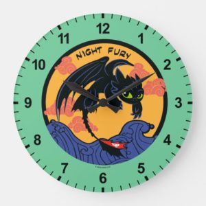"""Toothless """"Night Fury"""" Flying Over Ocean Waves Large Clock"""