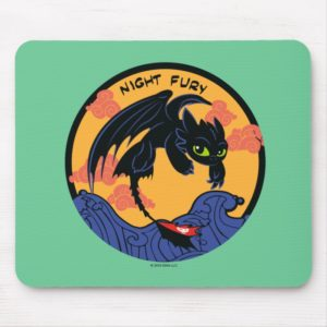 """Toothless """"Night Fury"""" Flying Over Ocean Waves Mouse Pad"""