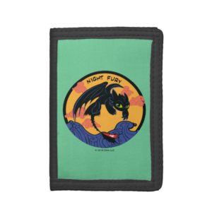 """Toothless """"Night Fury"""" Flying Over Ocean Waves Trifold Wallet"""