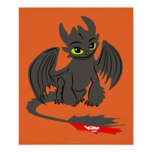 Toothless Sitting Illustration Poster