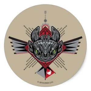Toothless Tribal Chain Emblem Classic Round Sticker