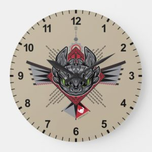 Toothless Tribal Chain Emblem Large Clock