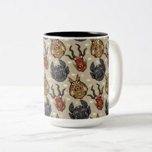 Tribal Dragon Heads Pattern Two-Tone Coffee Mug