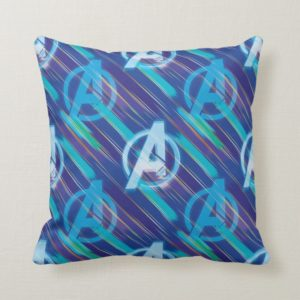 Avengers: Endgame   Avengers Blue Logo Pattern Throw Pillow
