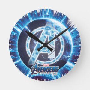 Avengers: Endgame | Avengers & Thanos Blue Pattern Round Clock