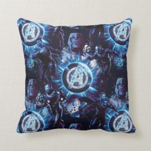 Avengers: Endgame | Avengers & Thanos Blue Pattern Throw Pillow