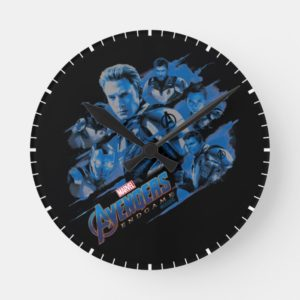 Avengers: Endgame | Blue Avengers Group Graphic Round Clock