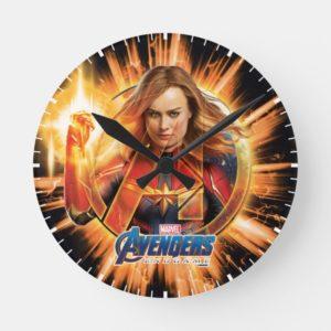 Avengers: Endgame | Captain Marvel Avengers Logo Round Clock
