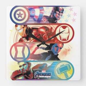 Avengers: Endgame | Heroes & Icons Graphic Square Wall Clock