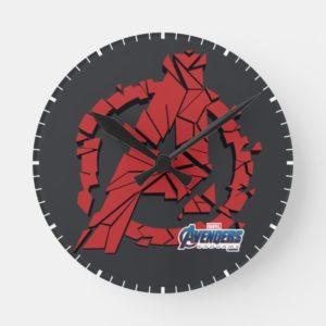 Avengers: Endgame | Shattered Avengers Logo Round Clock
